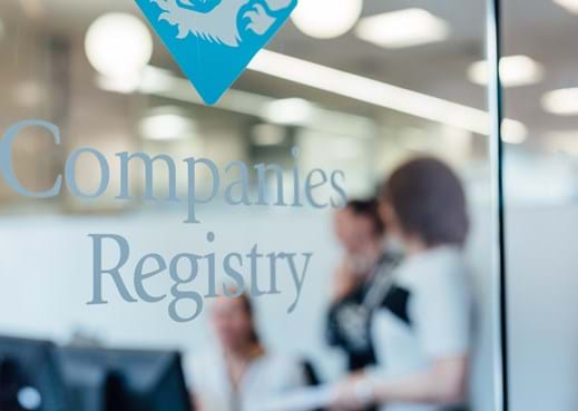 Image of glass door with Company Registry logo